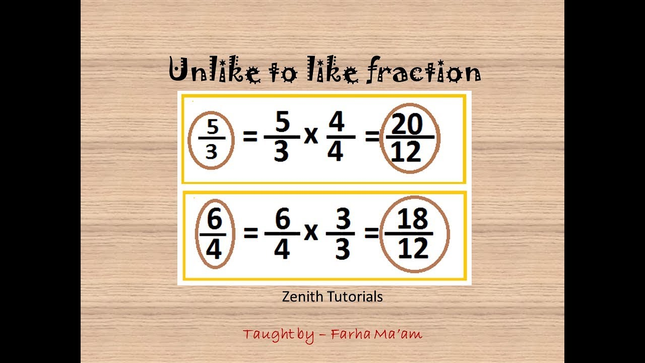 Converting unlike fraction into like fraction.