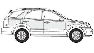 How to Draw a Kia Sorento / Как нарисовать Kia Sorento