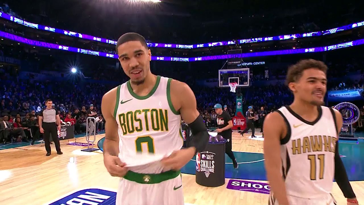 official photos e368e 35a23 Jayson Tatum Wins 2019 Skills Challenge With Half Court Shot vs. Trae Young  | All-Star Weekend