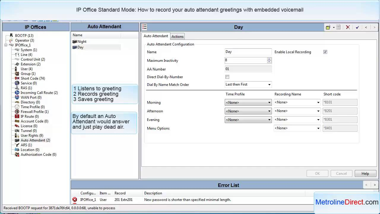 How To Record Auto Attendant Greetings In Ip Office Standard Mode