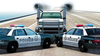 POLICE BLOCKADE BUSTING ENDURANCE CHALLENGE - BeamNG Drive Crash Test Compilation Gameplay