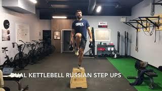 Dual Kettlebell Russian Step Up