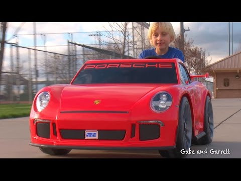 Power Wheels Porsche 911 GT3 - Unboxing, Assembly, and Riding! | Gabe and Garrett