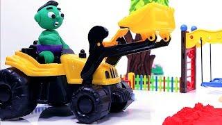 Superhero excavator 💕 Play Doh Stop motion cartoons for children