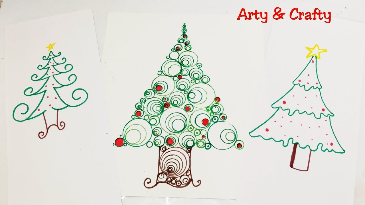 Learn How To Draw 3 Types Of Christmas Tree Xmas Easy Christmas
