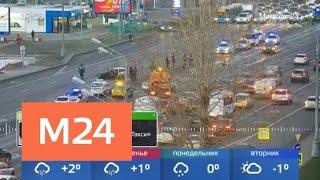 Смотреть видео Появились эксклюзивные кадры ДТП на Кутузовском проспекте - Москва 24 онлайн