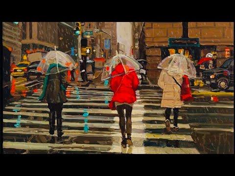 NEW YORK CITY 2018: CHRISTMAS RAIN on the STREETS of MANHATTAN! [4K]