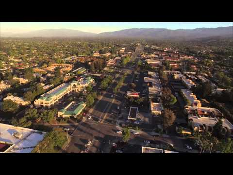 Cupertino, Silicon Valley in California filmed from an aerial drone