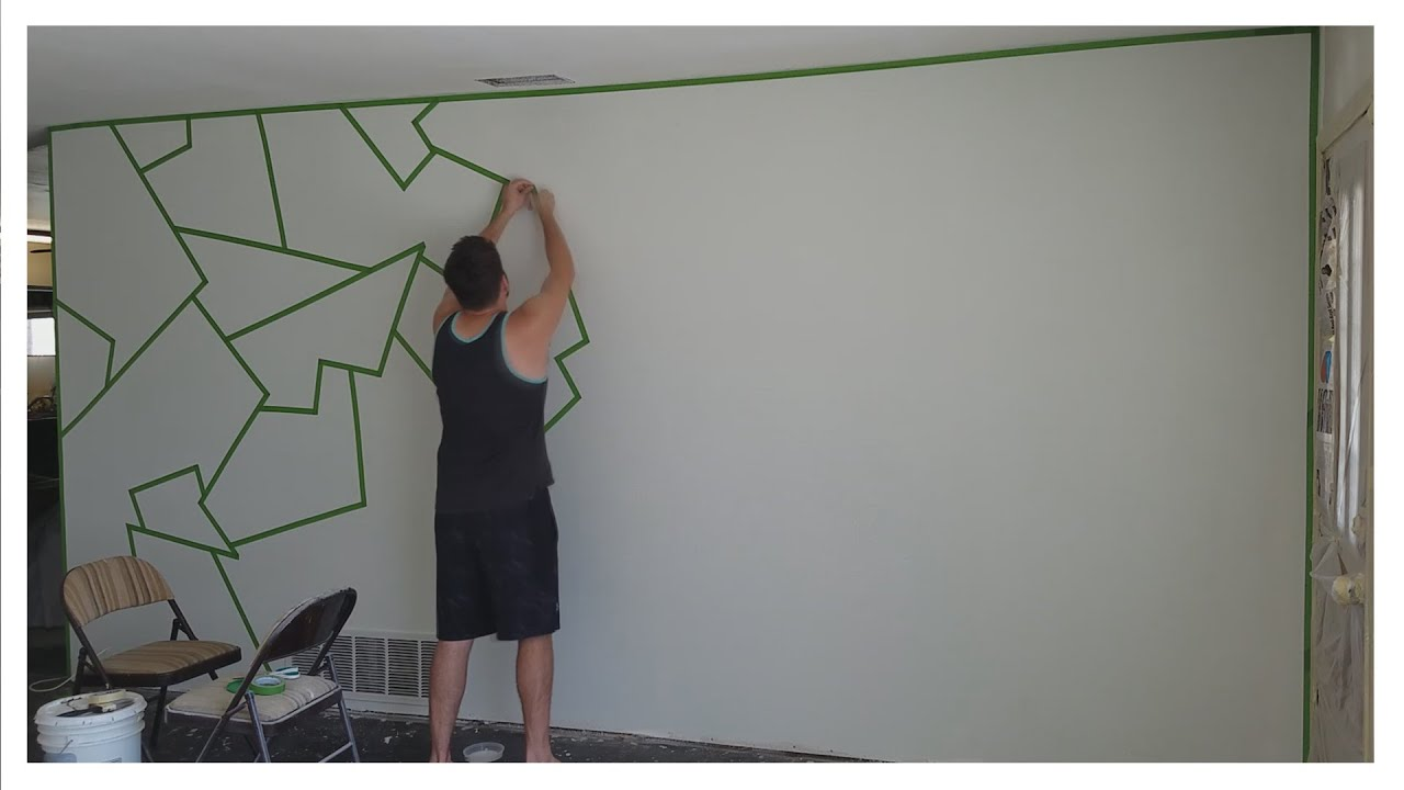 How to Paint ALMOST PERFECT Line Patterns on Your Wall EASY