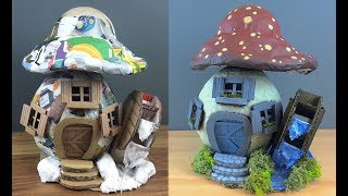 How To Make a Paper Mache Fantasy Mushroom House , Fairy Mushroom House Night Light