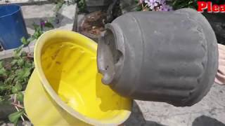 How to make cement pot easily at home|| cement pot making at home.