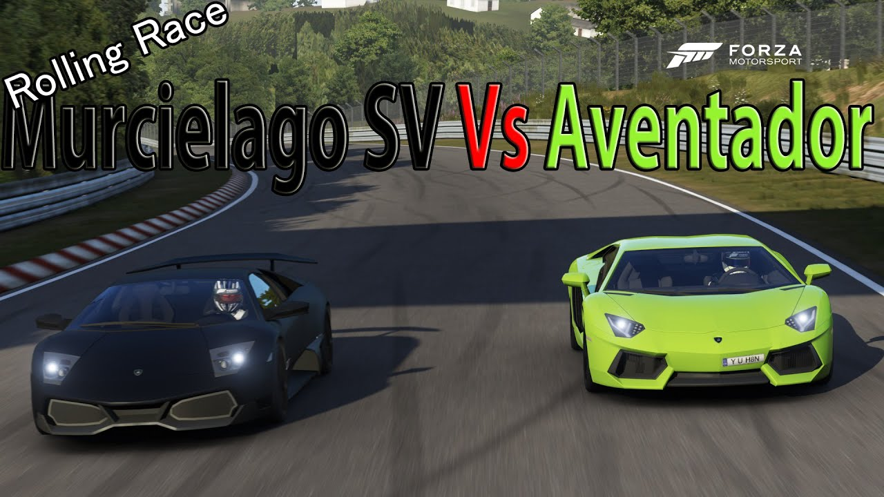 forza motorsport 6 drag race lamborghini aventador lp700 4 vs lamborghini murcielago sv x2. Black Bedroom Furniture Sets. Home Design Ideas