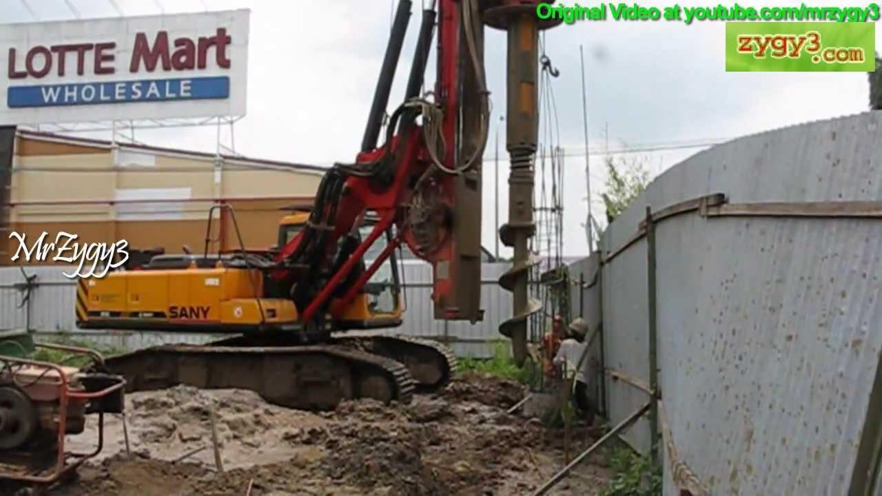 Sany SR150C Hydraulic Rotary Piling Drill Rig Lifting Installing Rebar