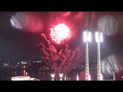 2014 Cincinnati Reds Opening Night Ceremonies & Fireworks feat. music by The Rusty Griswalds