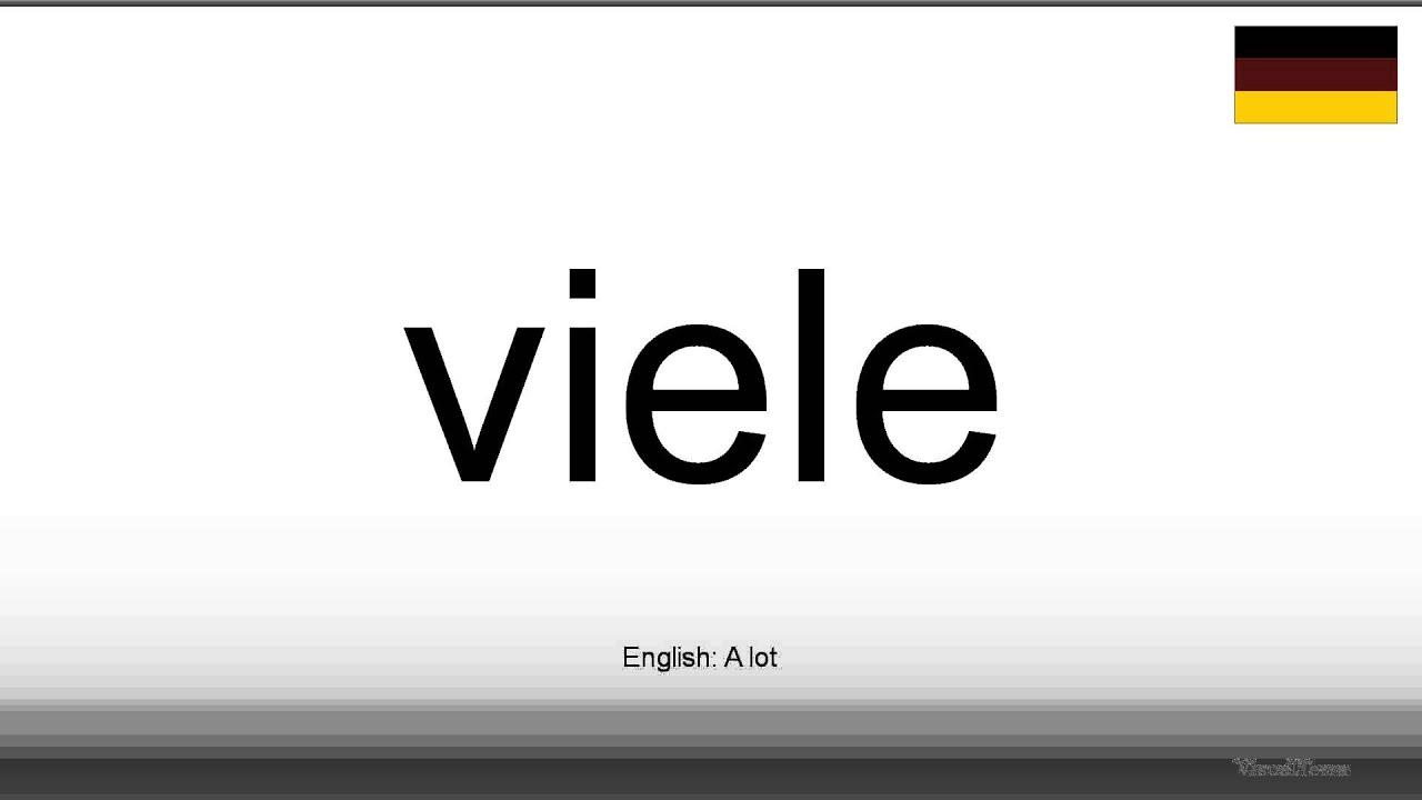 How to pronounce: Viele (German) - YouTube