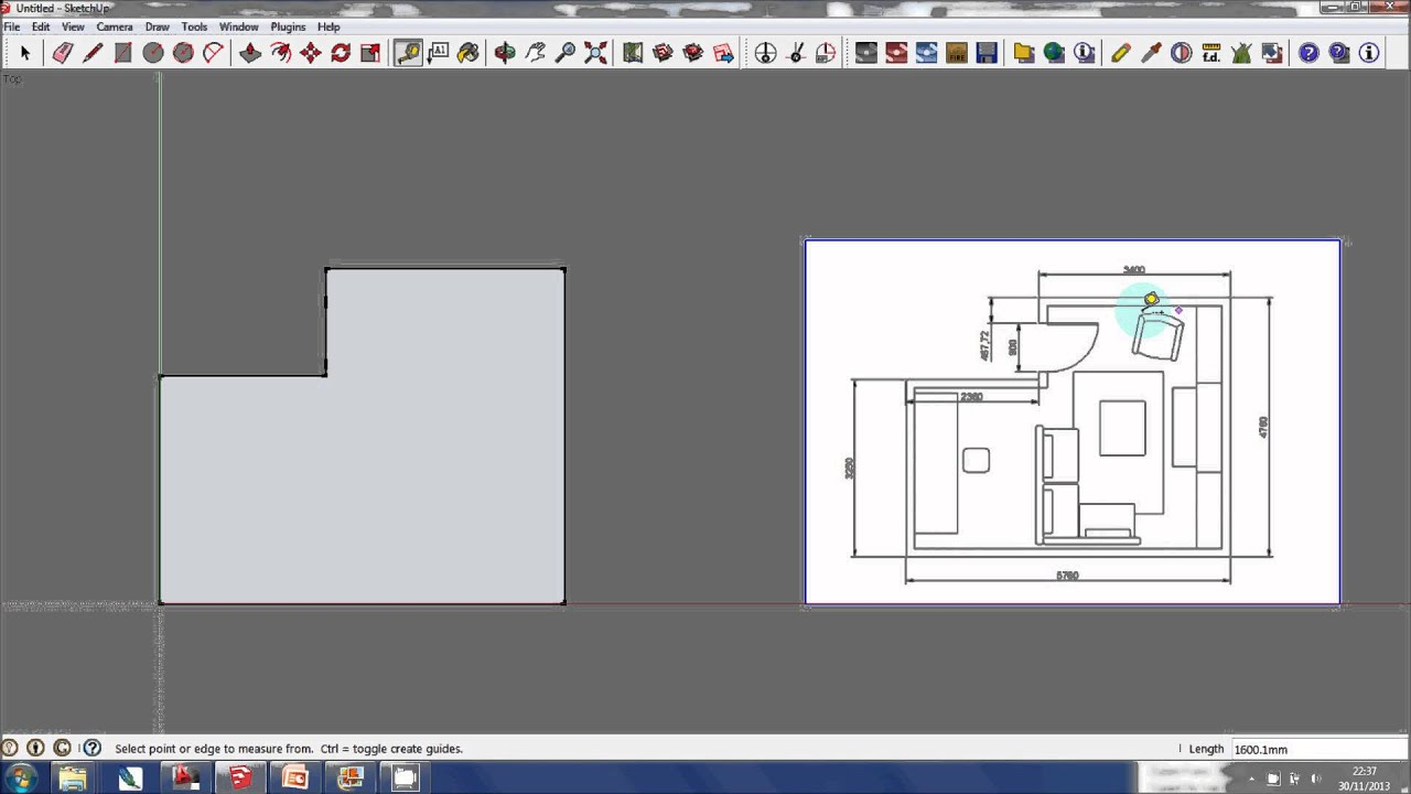 Sketchup tutorial creating a 3d model from a floor plan Sketchup floorplan