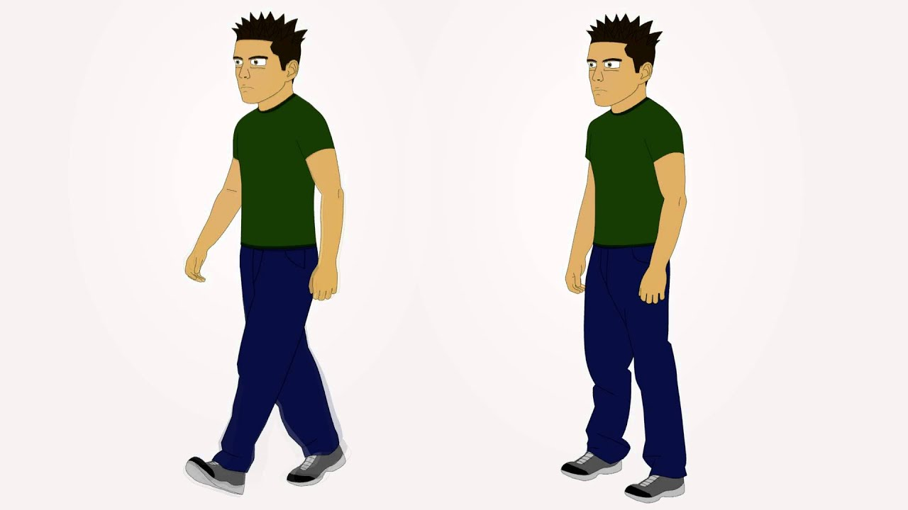 male character 1 three quarters view stand walk cycle avi youtube