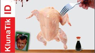 KlunaTik Eat RAW CHICKEN With GORDON SAMSAY ~ Mukbang Ayam Mentah ~ KlunaTik ASMR No Talk 2019