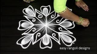 Easy n simple  kolam  with dots     cute  rangoli designs     latest flower  muggulu