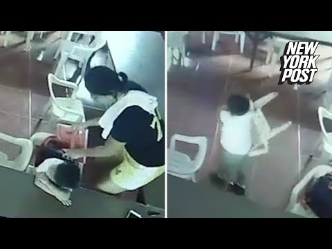 Sleepy kid thinks this chair is his backpack