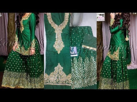 Tabby Silk Sharara Suit In Green Color|Joginder Cloth House