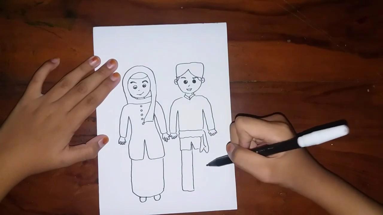Cara Menggambar Tema Pakaian Adat Betawi Abang None Draw