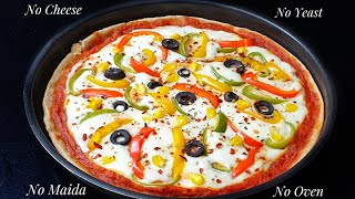 No Cheese No Maida No Yeast No Oven Tasty Healthy Veg Pizza Recipe - Vegetable Pizza without cheese