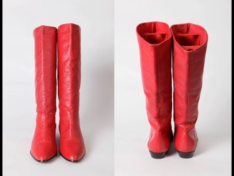 Red Leather Boots Low Heel Youtube