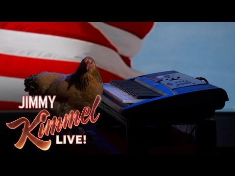 "Can They Do It Live? – Chicken Plays ""America The Beautiful"" on Piano"