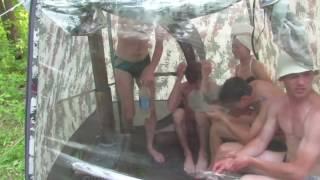 Баня в палатке. Пятеро в Терме-10 + печь