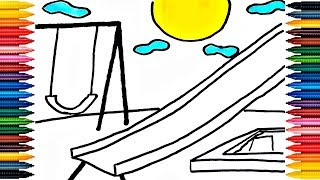 Drawing Playground Outdoor How to Draw Playground and slide