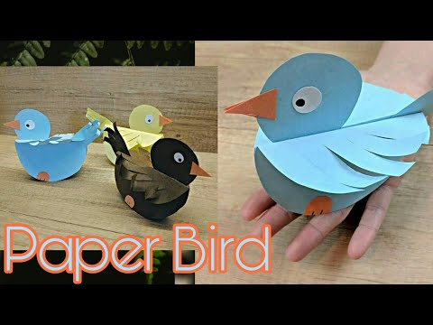 DIY Cute Paper Bird Tutorial 🐦 • Paper Craft • Easy bird making • Bharti's Creative Art and Craft