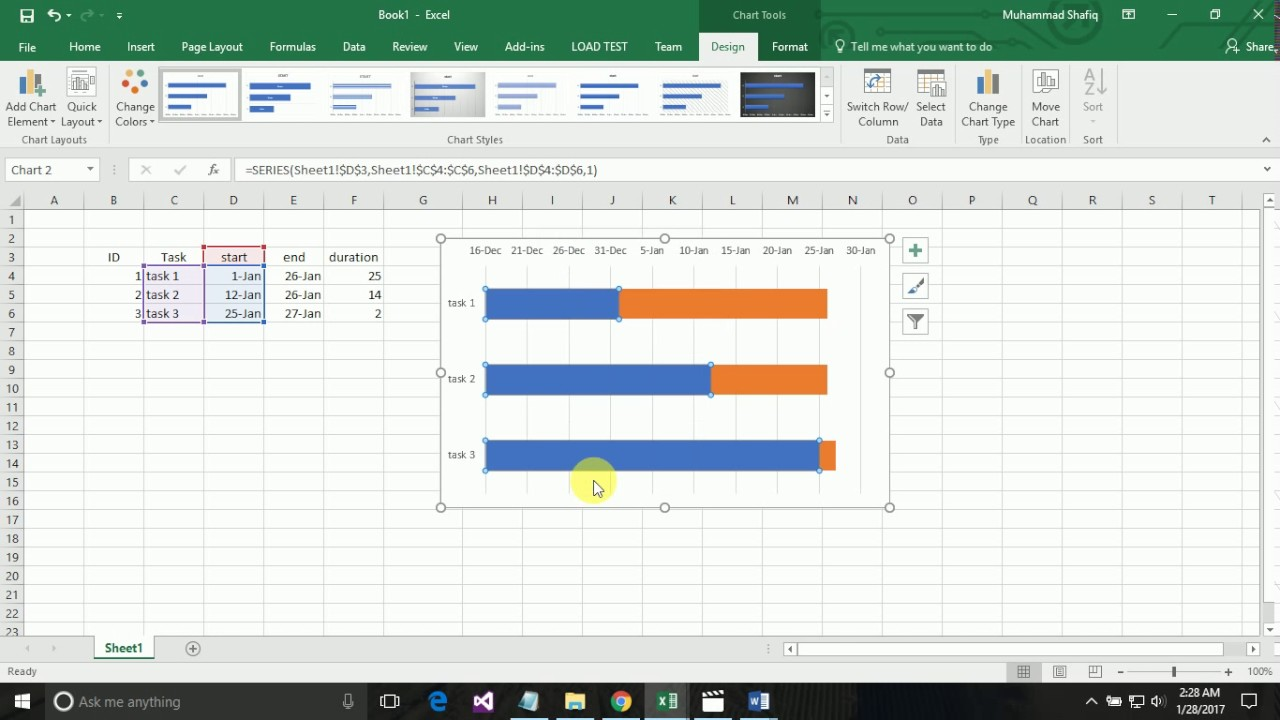How to create a gantt chart by using microsoft excel 2016 youtube how to create a gantt chart by using microsoft excel 2016 nvjuhfo Images