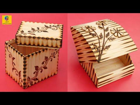 DIY Handmade Jewelry Storage Box with Ice-Cream Sticks | Jewelry Organizer Box Design