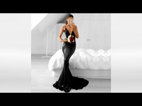long-trumpet/mermaid-v-neck-sequined-black-prom-dresses---millybridal.org