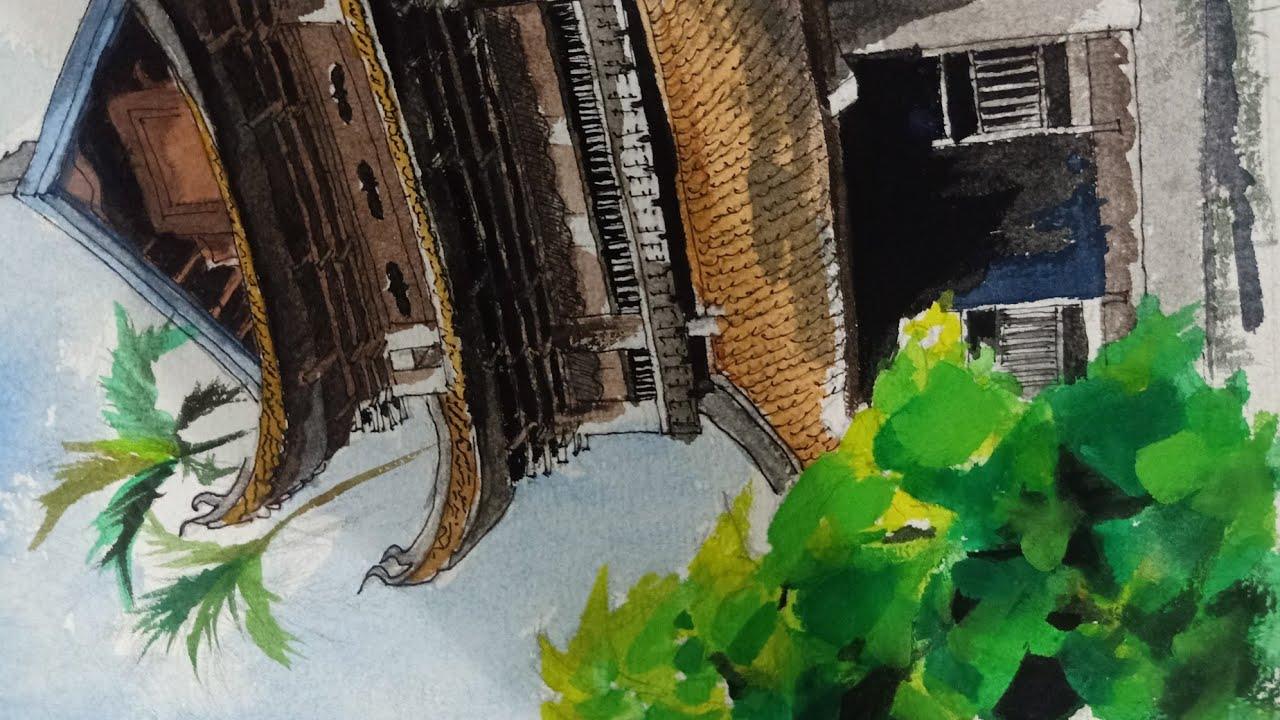 Vẽ phong cảnh ngôi chùa bằng màu nước
