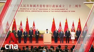 Carrie Lam speaks at Hong Kong handover anniversary amid protests