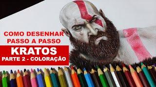 Como Desenhar o Kratos Realista- Parte 2 - Coloração (How to draw Realistic Kratos)