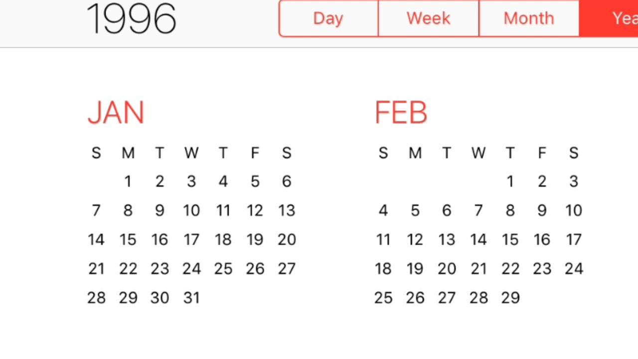 1996 Calendar Youtube