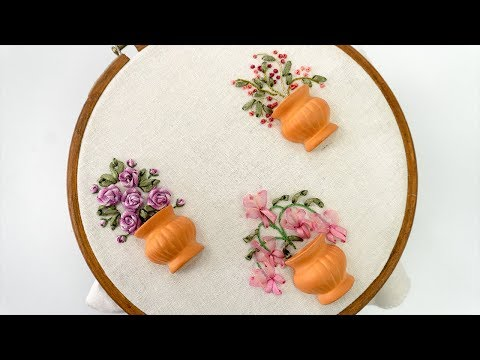 Hand Embroidery Design : Easy Ribbon Work | Ribbon Flowers