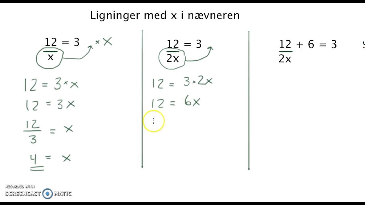 brøker i ligninger
