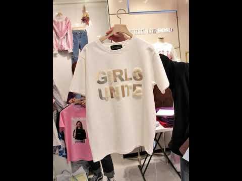 2020 여름 신상 기모 레터링 반팔 티셔츠 여 루즈핏 화이트 티셔츠 면NIJHK