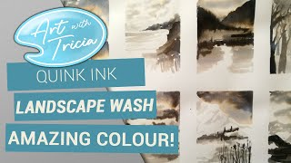 Quink ink landscape washes