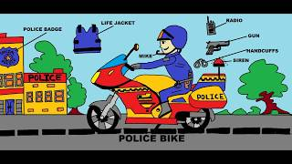Police Bike Drawing for Kids   Police Motorcycle   How to Draw Police Bike   Bike