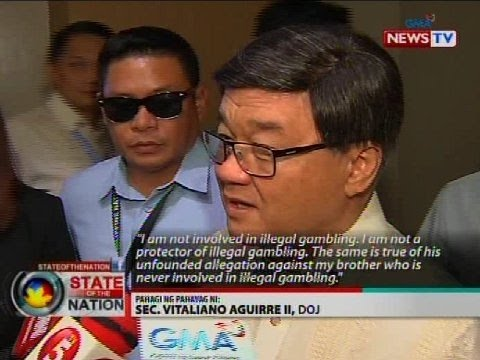 DOJ Sec. Aguirre, itinangging sangkot at protektor siya at ang kanyang kapatid sa illegal gambling