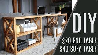 DIY: $20 Farmhouse End Table, $60 Sofa Table