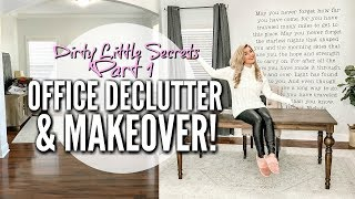 SMALL OFFICE CLEAN AND DECORATE WITH ME | DIRTY LITTLE SECRETS SERIES PART 1 | Love Meg