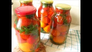 Помидоры с морковной ботвой на зиму  Tomatoes with carrot top for the winter