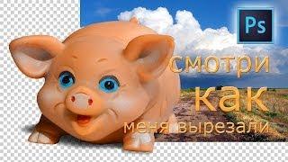 Вырезаем из фотографии в программе ФОТОШОП свинью. И сохраняем в формаие PNG без фона.