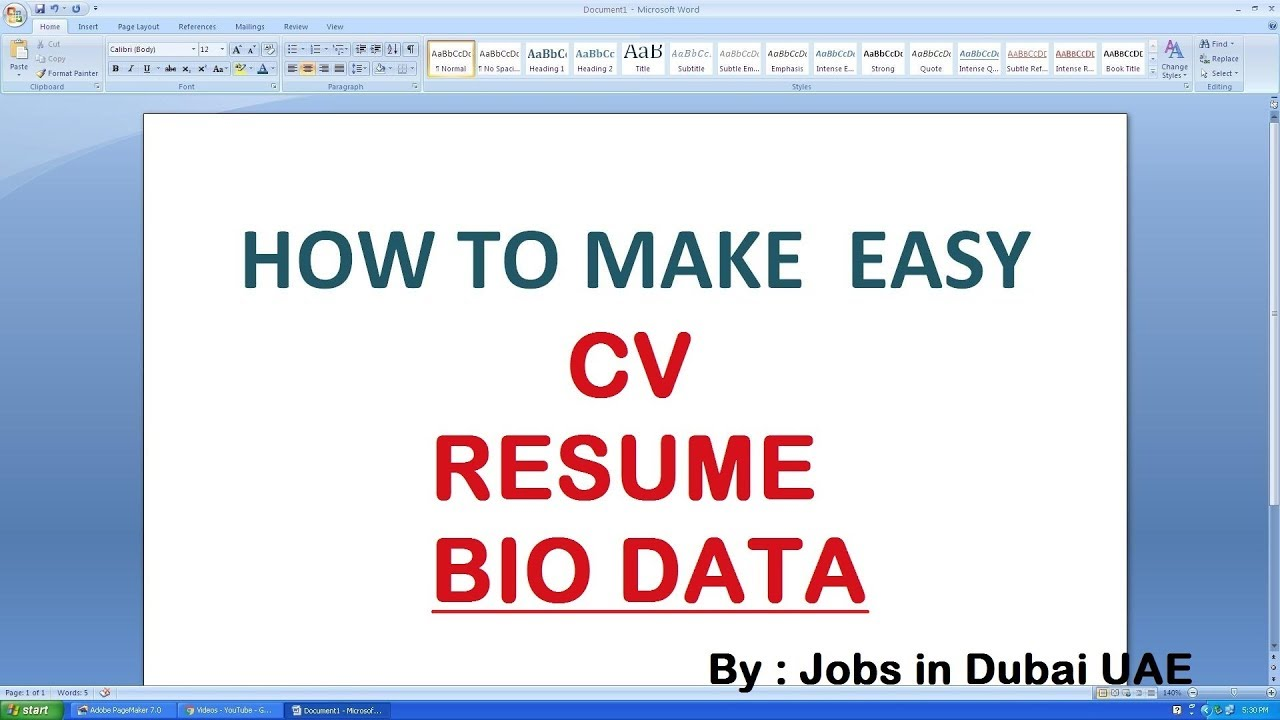 Resume Format For Ms Word